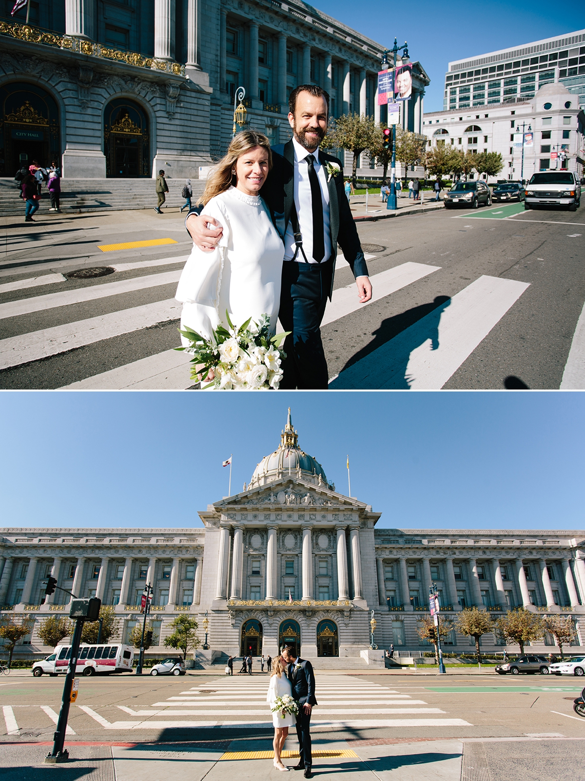 The bride and groom walk across the street from San Francisco City Hall and share a kiss.
