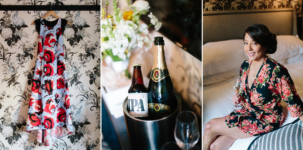The bride's colorful floral print wedding dress, champagne and beer chilling, and the bride in her getting ready floral robe at the Proper Hotel in San Francisco.