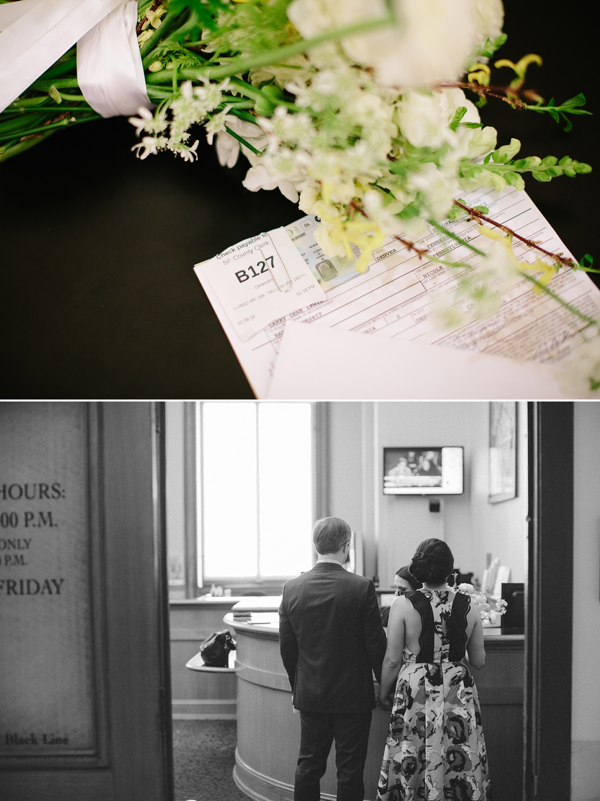Marriage license at San Francisco's City Hall, County Clerk Office.