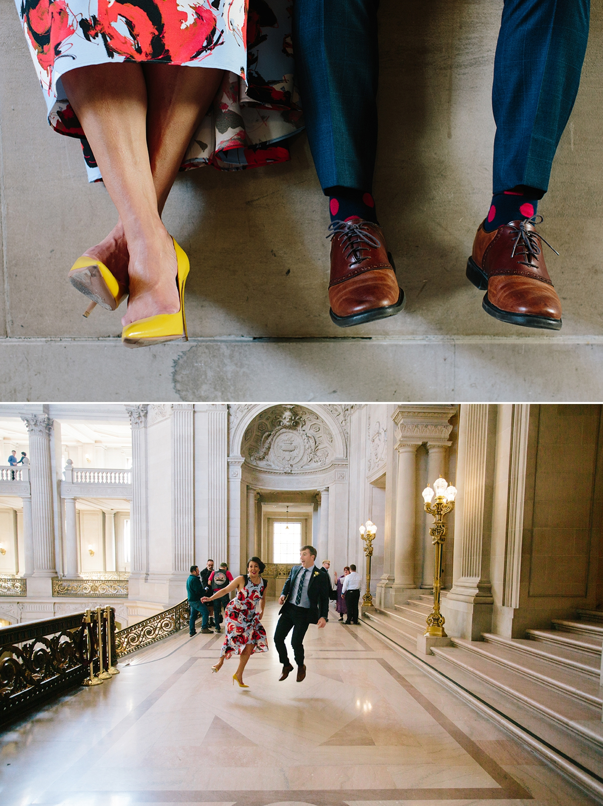 Bride and groom clicking their heels at San Francisco City Hall.
