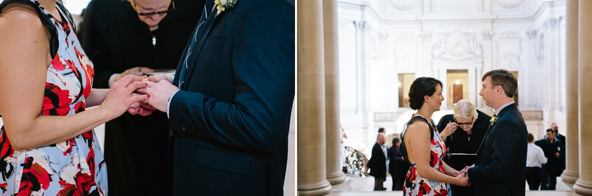 The civil ceremony with a commissioner at San Francisco City Hall.