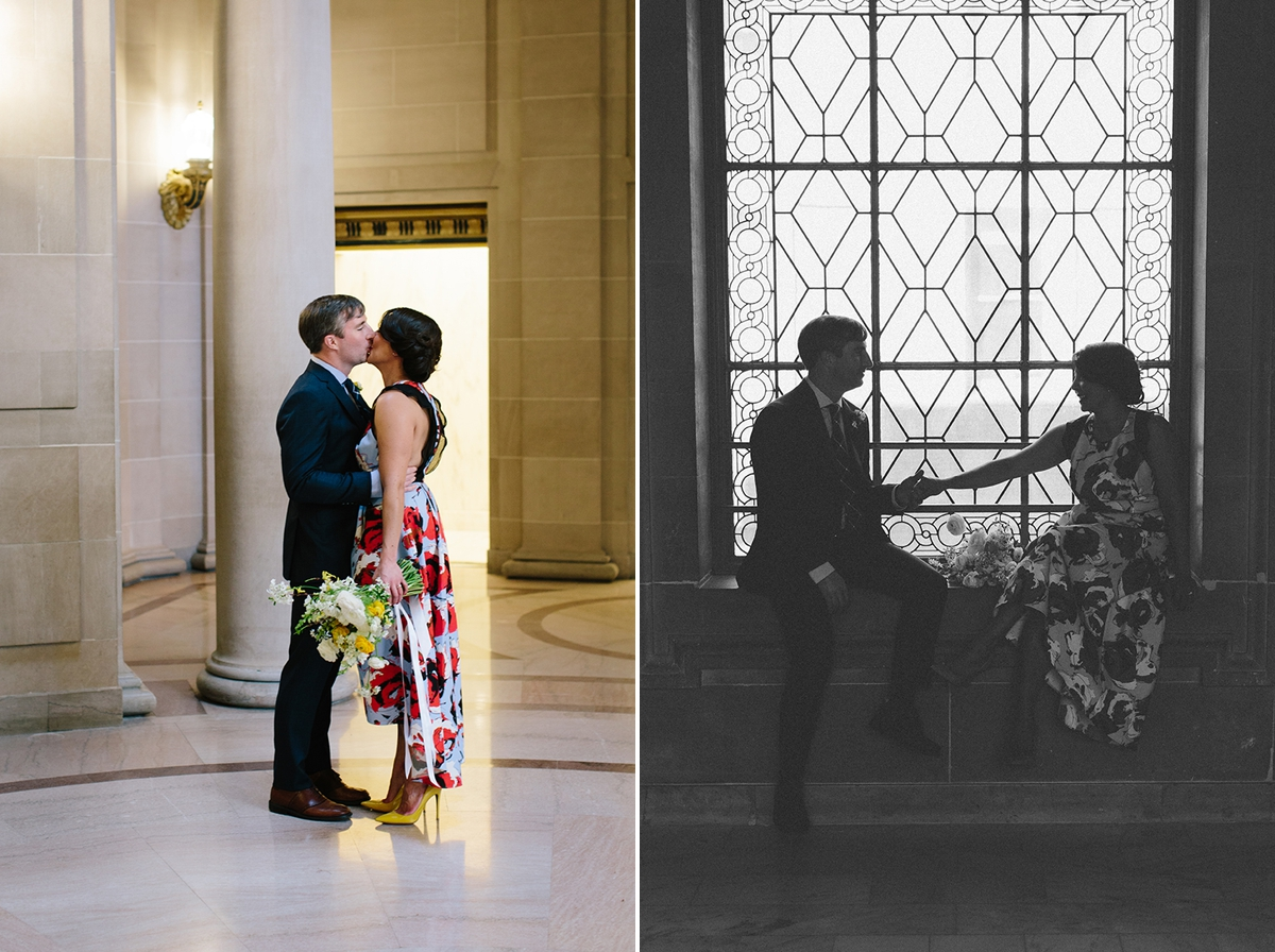 The bride and groom share a post ceremony moment at San Francisco City Hall.