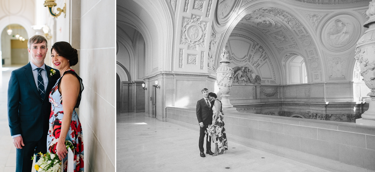 The bride and groom on the 4th floor of San Francisco City Hall.