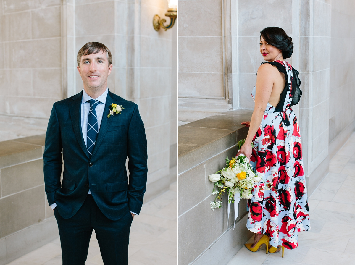 Portrait of the groom and portrait of the bride at San Francisco City Hall.
