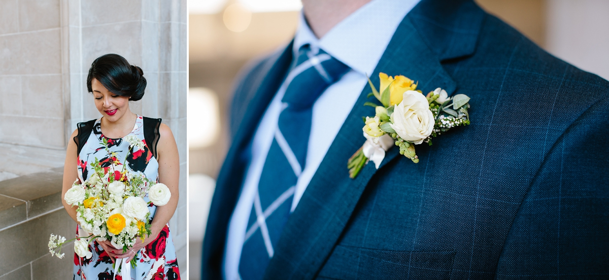 The bride and her bouquet and the groom and his boutonniere by Ampersand.