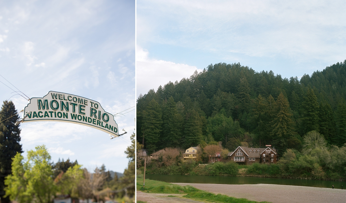 Welcome to Monte Rio sign and the Highland Dell Lodge, wedding venue on the Russian River.