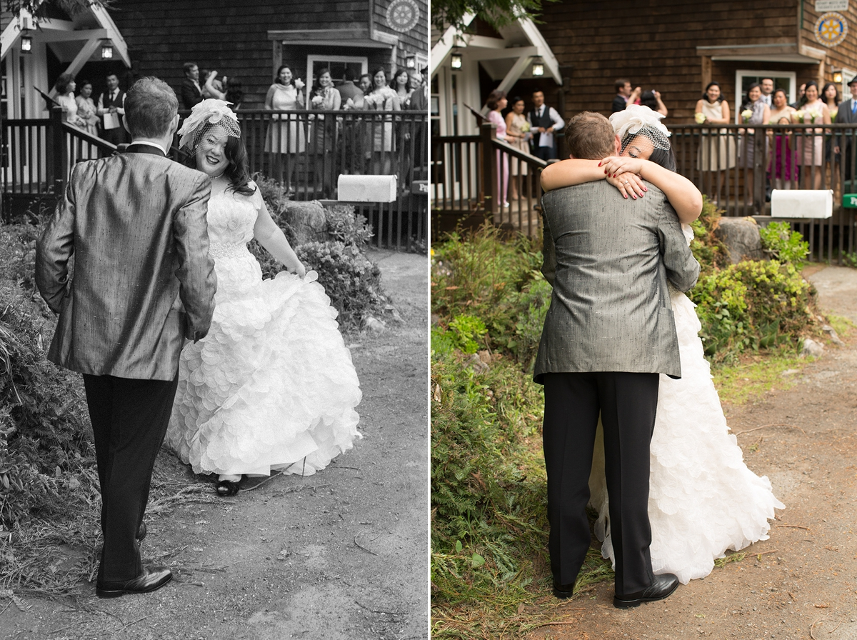 The bride and groom's First Look while the bridal party watches at the Highland Dell Lodge in Monte Rio.