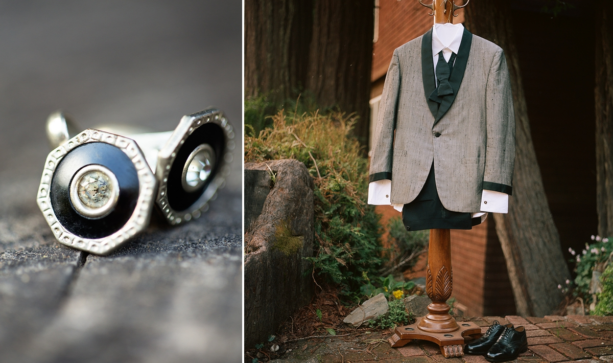 Vintage cufflinks and a vintage sharkskin tuxedo for the groom. At the Highland Dell Lodge in Monte Rio.