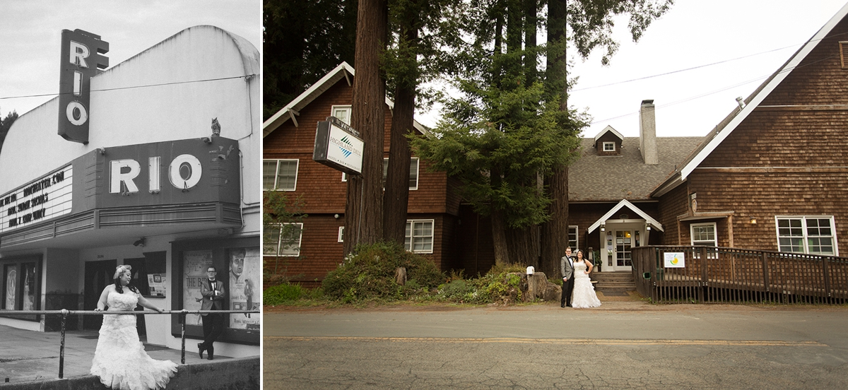 The bride and groom in front of the historic Rio theater and the Highland Dell Lodge in Monte Rio, California.