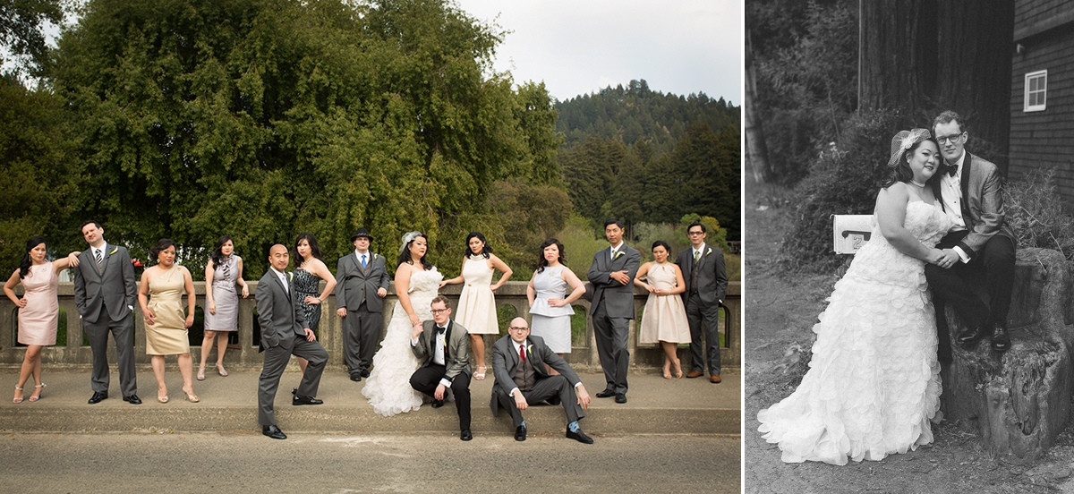 The wedding party on the bridge in Monte Rio, over the Russian River. The bride and groom at the Highland Dell Lodge.