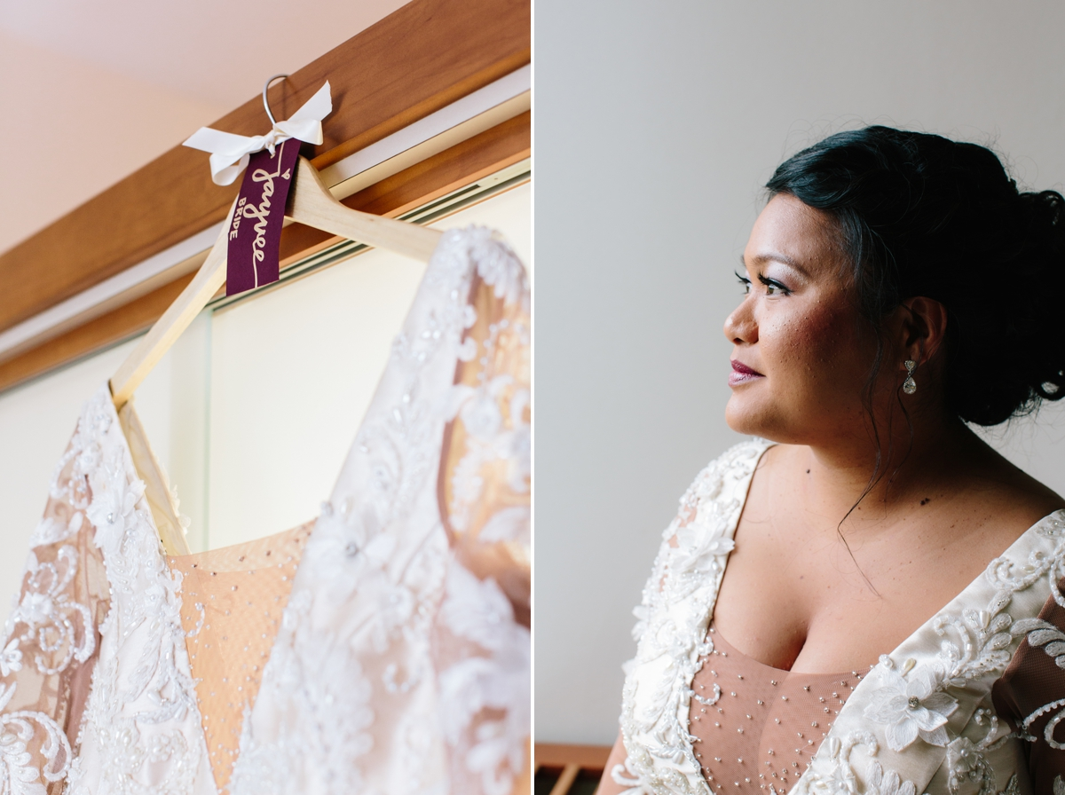 The bride's custom-made dress on a hanger as she gets ready, and her portrait once she put her dress on.