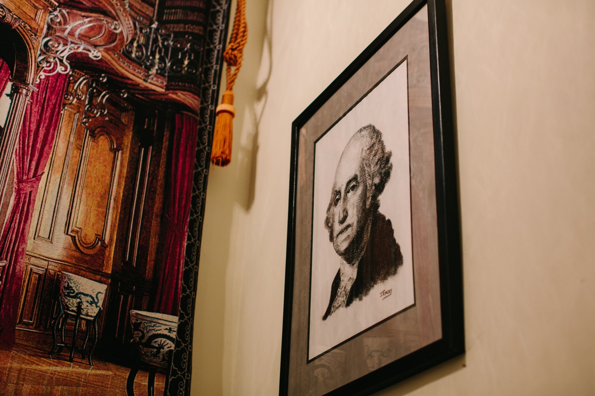 A portrait of General Washington inside the historic Washington Crossing Inn.
