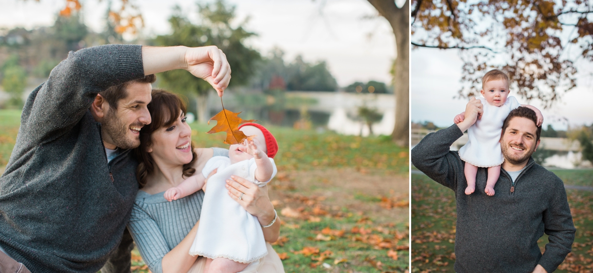 Baby Maya looks at a fall leaf with her parents, and sits on her dad's shoulders at Vasona Park.