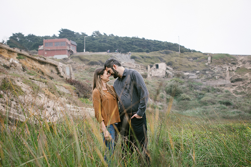 In the tall grasses at Sutro Baths.