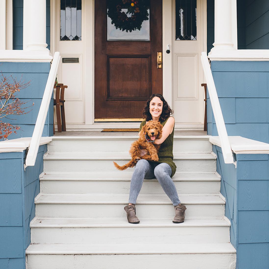 Sonya Yruel with her goldendoodle puppy, Sequoia.