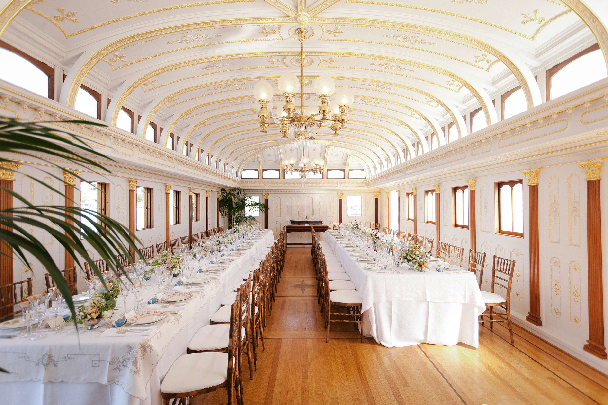 Intimate wedding reception in the historical China Cabin in Tiburon.