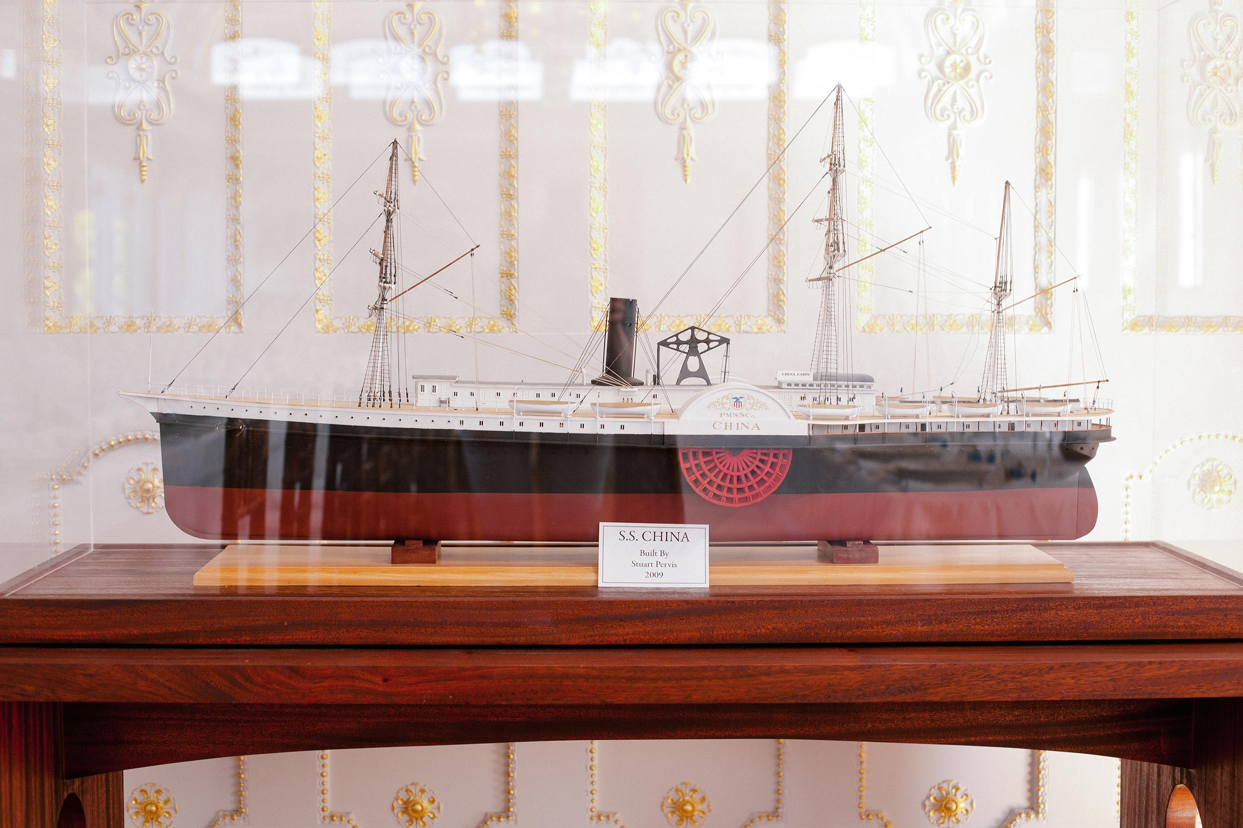 Model of the SS China steamer ship, inside China Cabin in Tiburon.