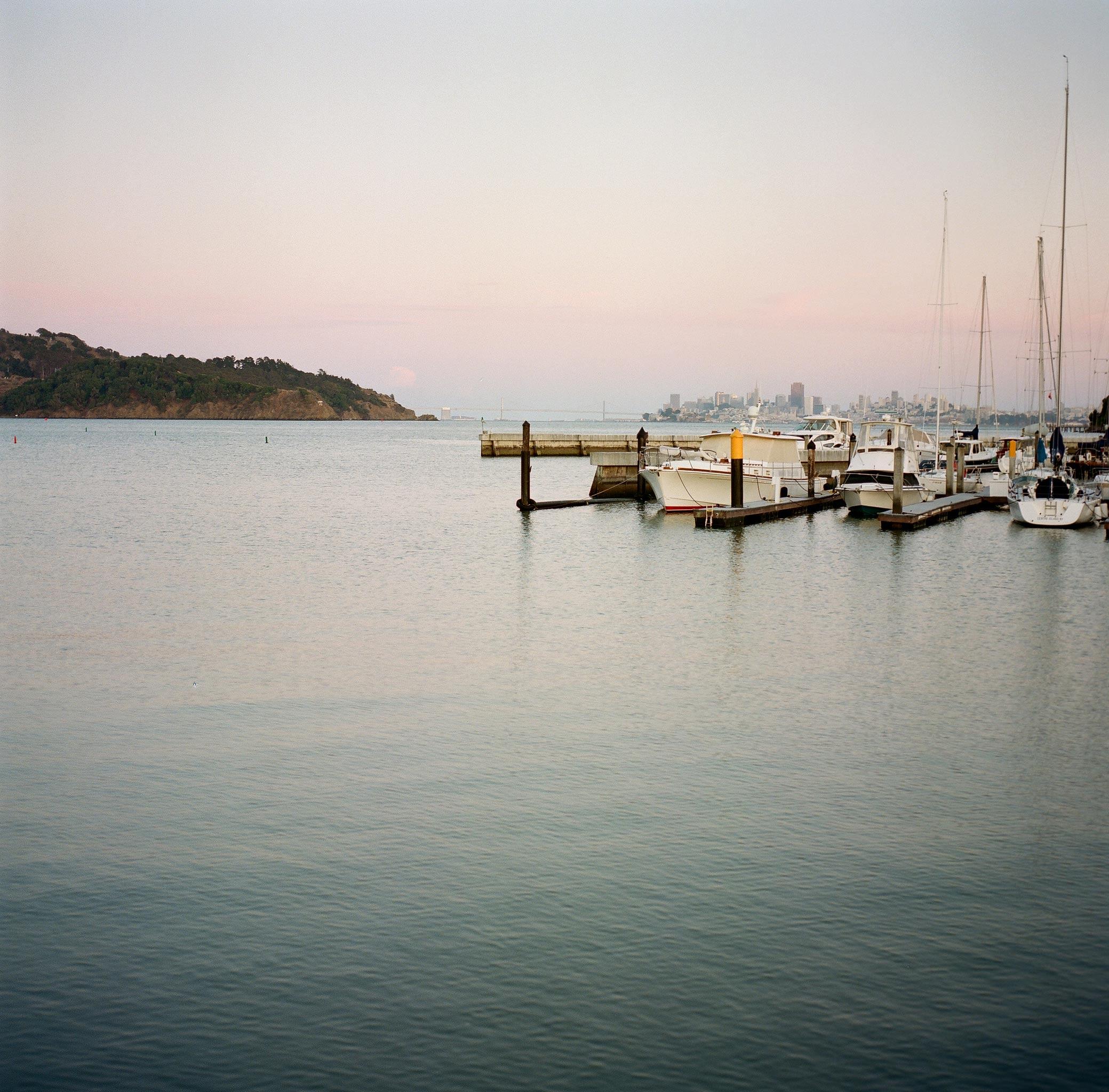 Views of the Tiburon harbor and the San Francisco Bay from China Cabin.