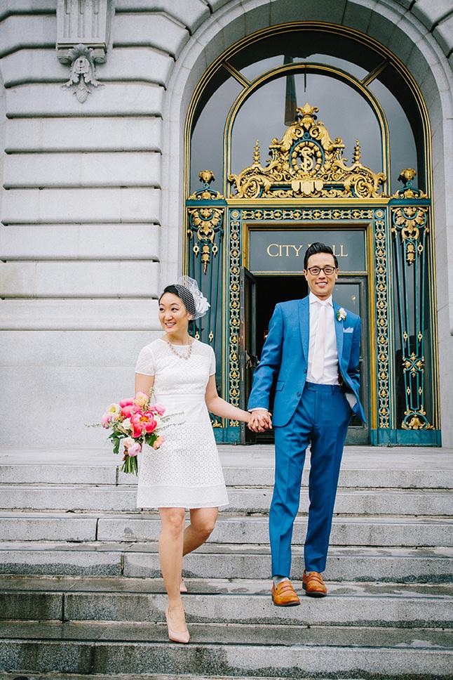 Couple exiting San Francisco City Hall