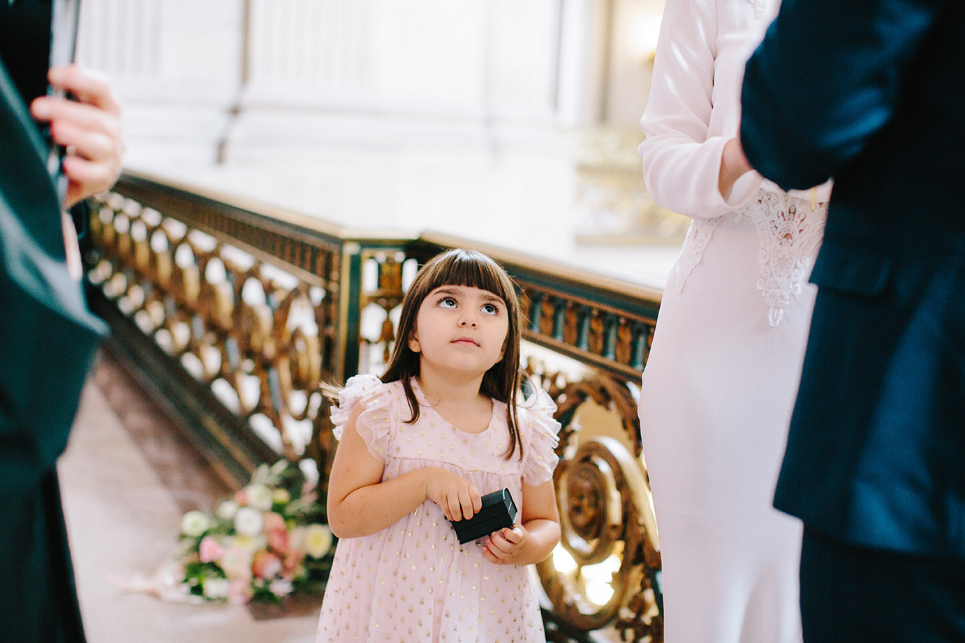 This little ringbearer couldn't wait to see her parents get married!