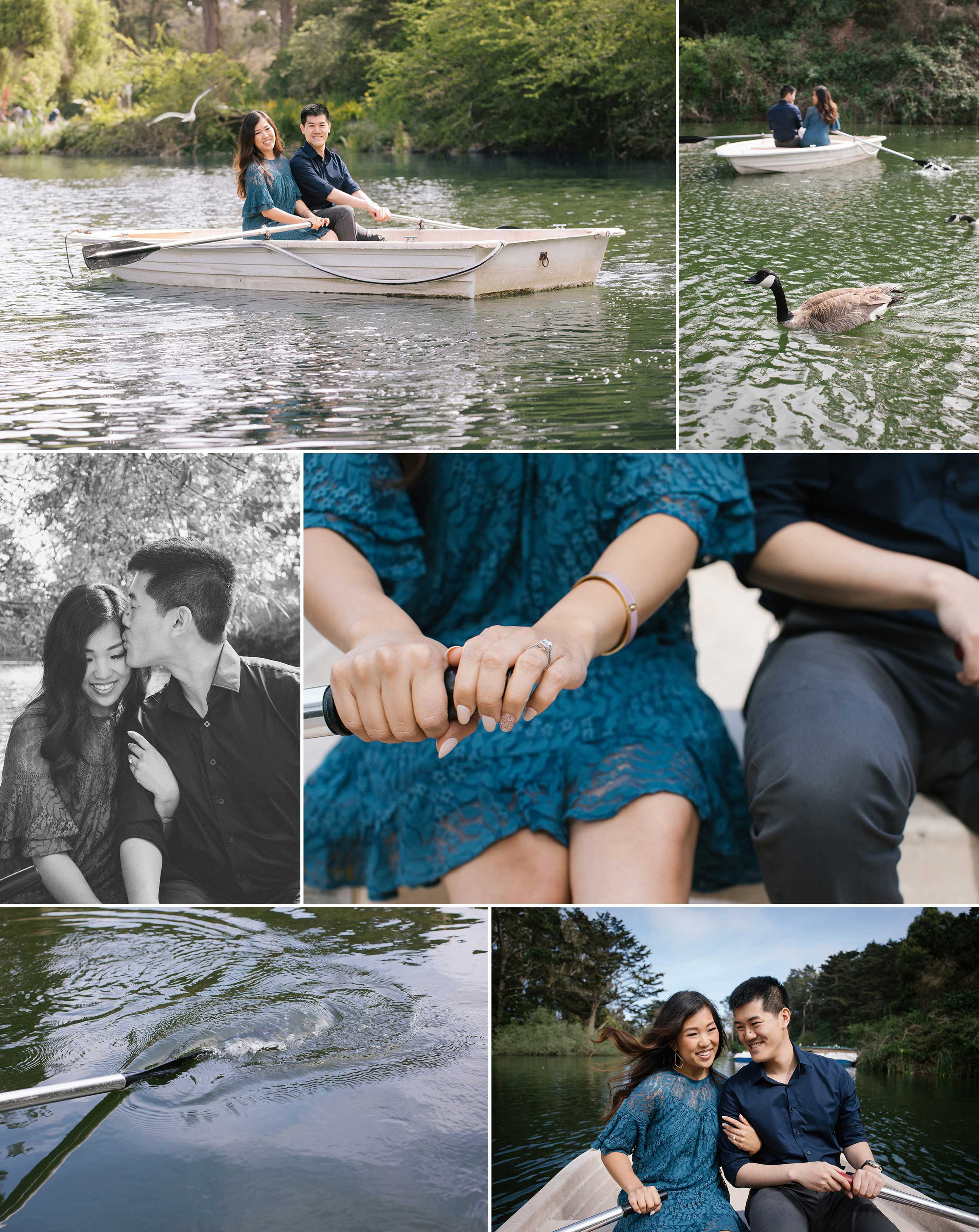 A rowboat engagement session on San Francisco's Stow Lake, in Golden Gate Park.
