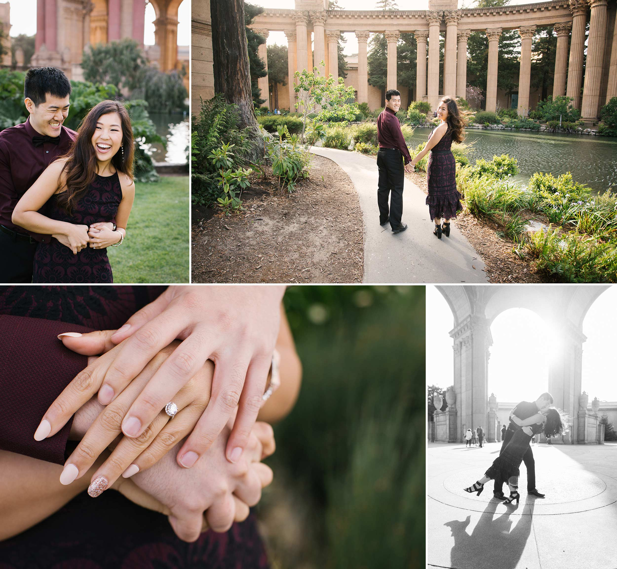 Having fun and running around the Palace of Fine Arts for Tiffany and Joseph's engagement session.