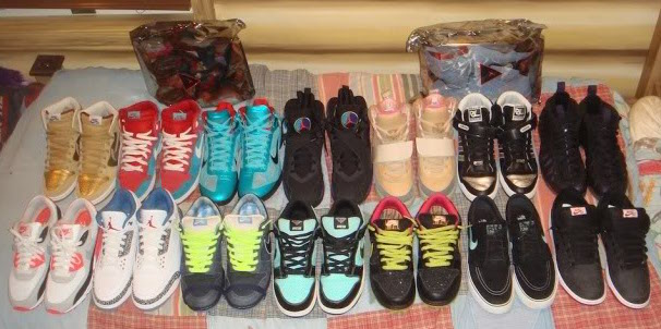 A portion of Jake's shoe collection from high school