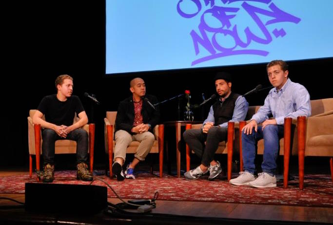 Jake (far left) and twin brother Dylan (far right), interviewing sneaker legends Jeff Staple and Ronnie Fieg