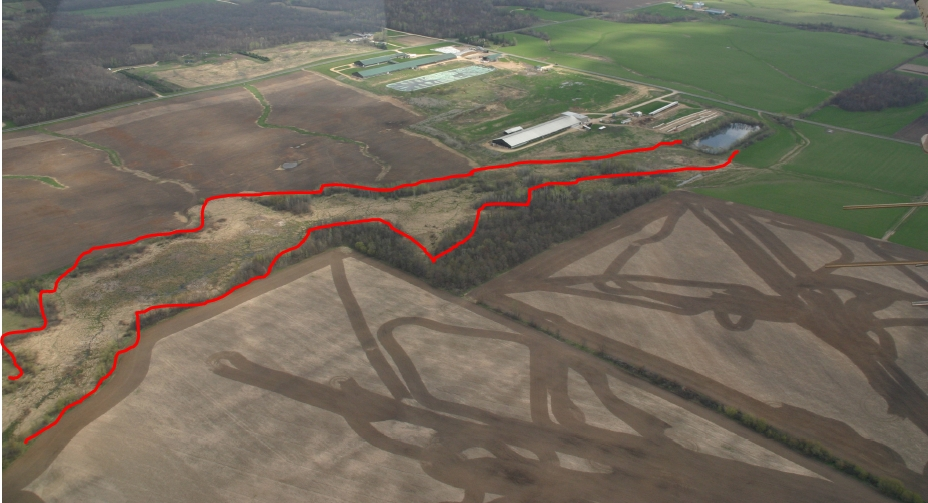 Another aerial view of manure spill (inside red lines)