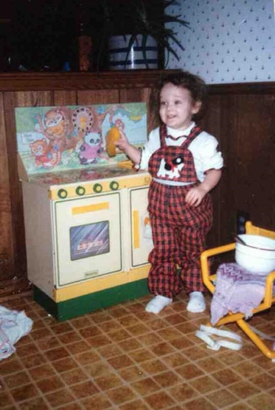 Liz in the kitchen at an early age - 1986-ish