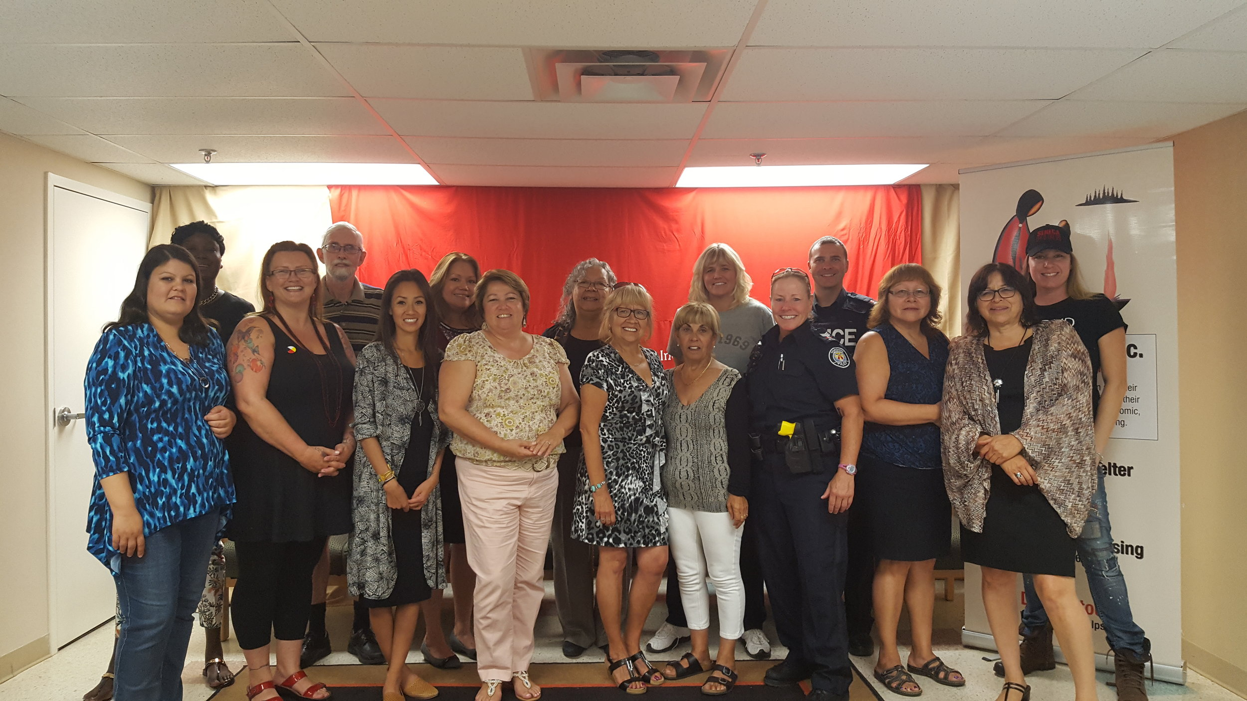 Group Shot: Anduhyaun Staff, Councillor Frances Nunziata, Staff Sargent Hildred, Constable Jason Rennie, Vicky Dawson, Simon Chamberlain, and friends from Seneca College.
