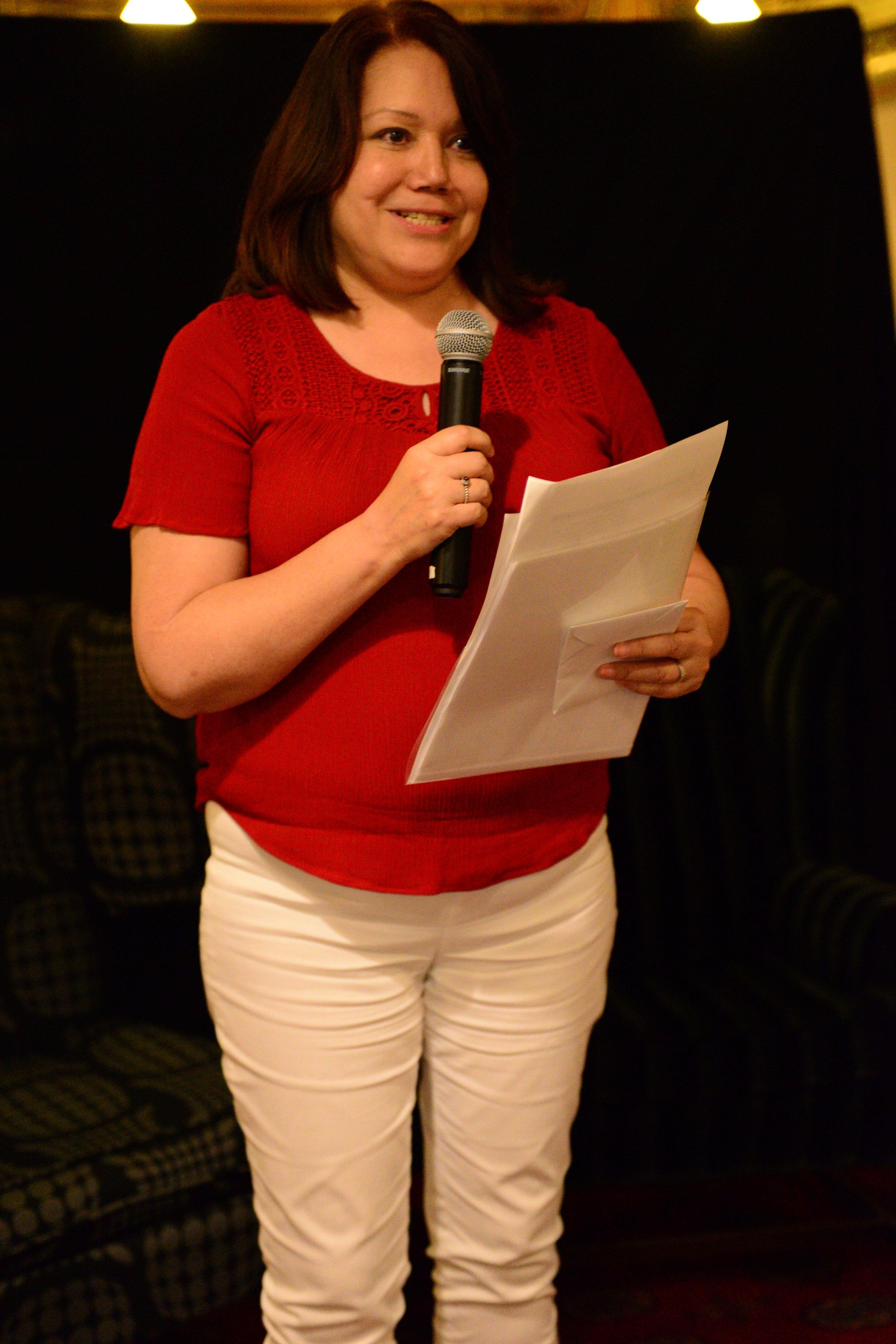 Deborah Graham, Vice-President thanking Anduhyaun's supporters
