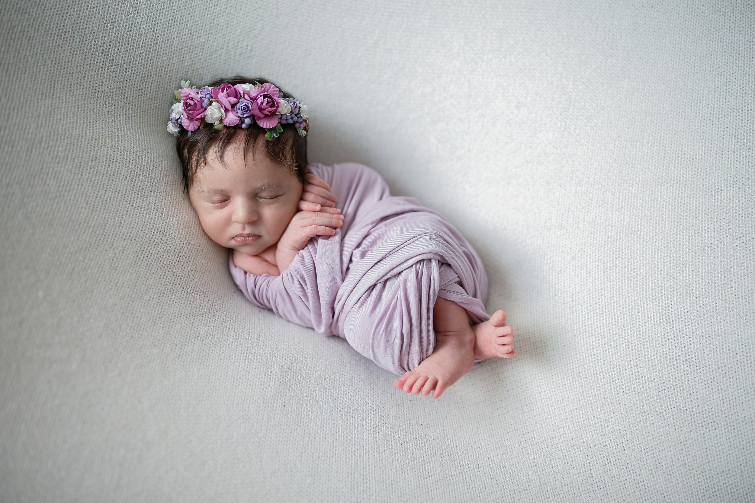 Lilac wrap and a floral headband