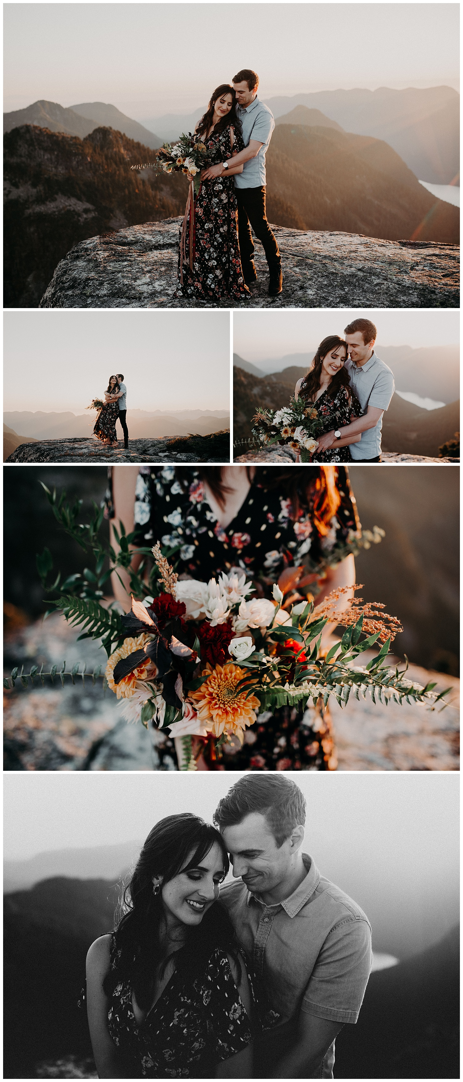 green leaf floral sunset engagement vancouver mountain top adventurous black and white stacie Carr photography
