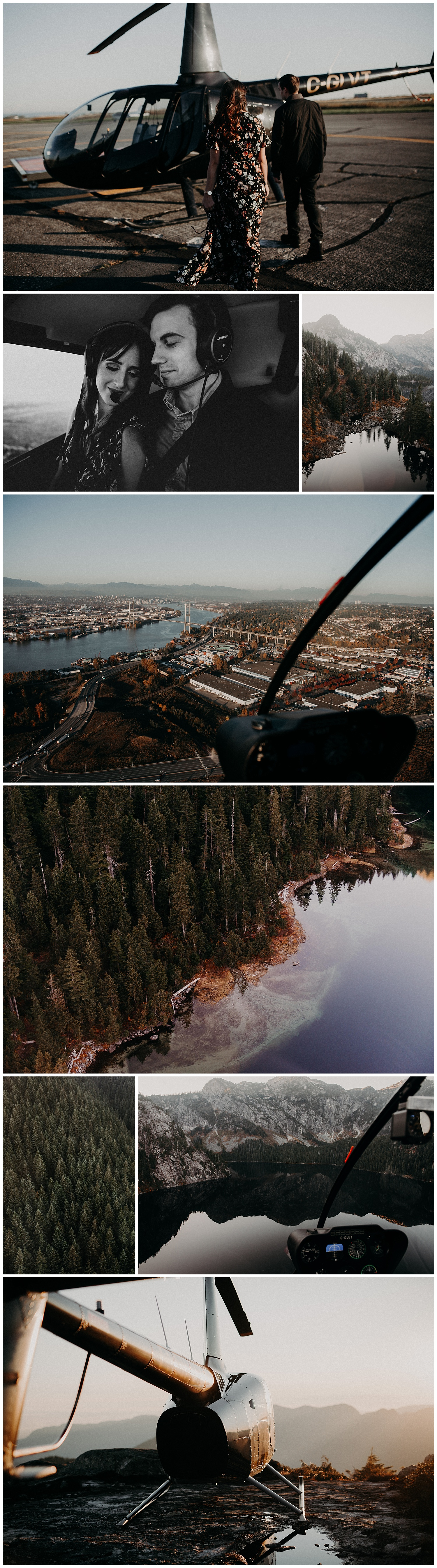 Vancouver engagement helicopter session mountain top adventurous Pitt lake sunset stacie Carr photography