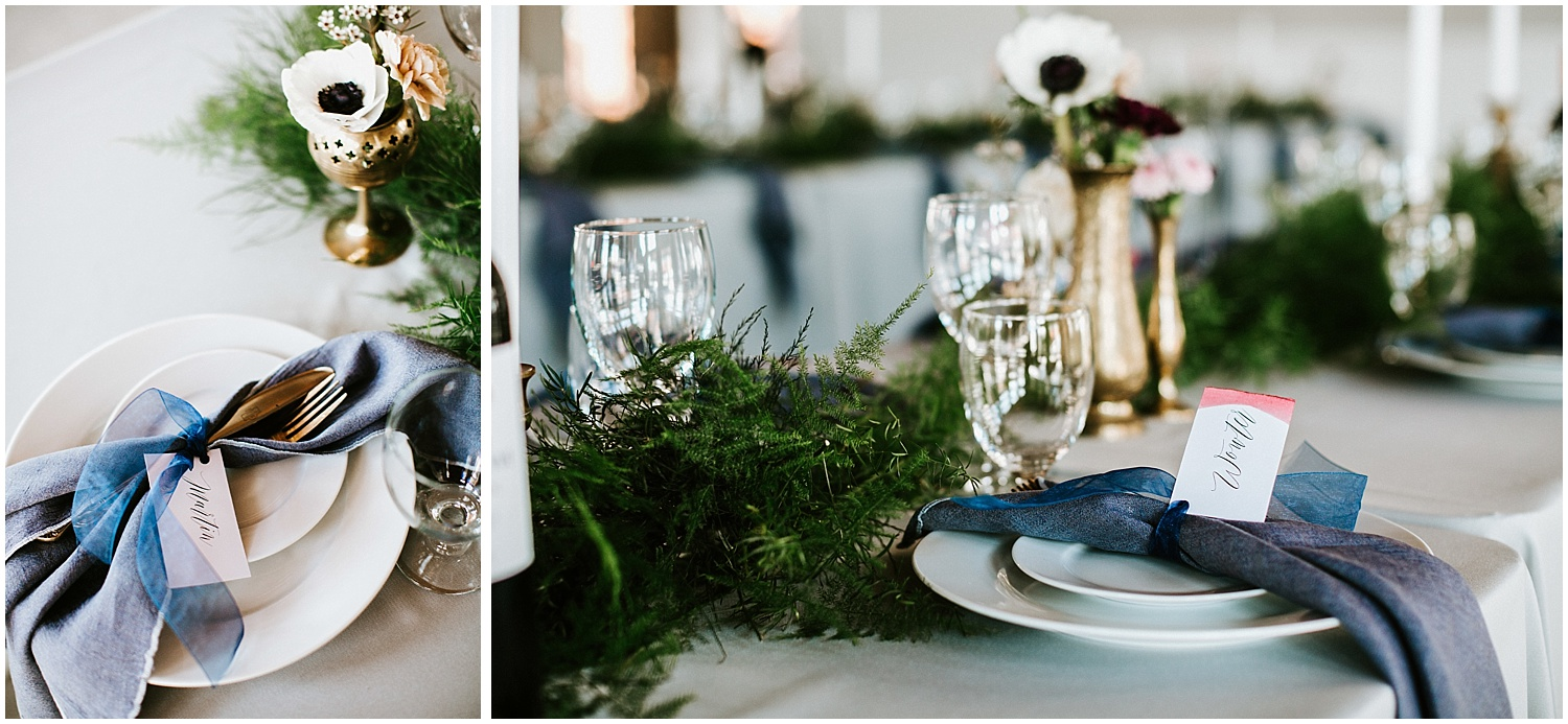 north vancouver diy wedding calligraphy place settings sign greenery pipe shop venue decor wedding intimate elopement long table decor by stacie carr photography