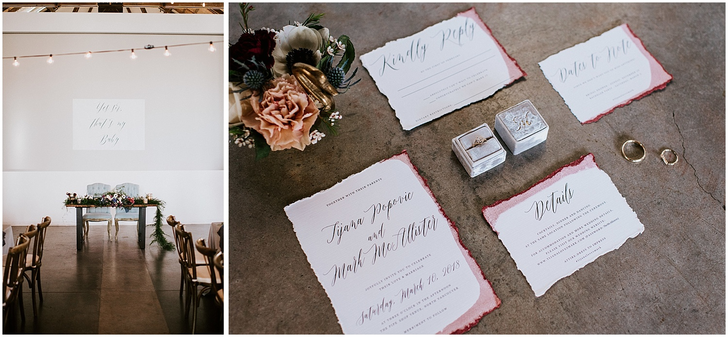 north vancouver intimate wedding decor pipe shop venue table for two place setting greenery diy wedding by stacie carr photography calligraphy bridal invitation suite sweetheart table
