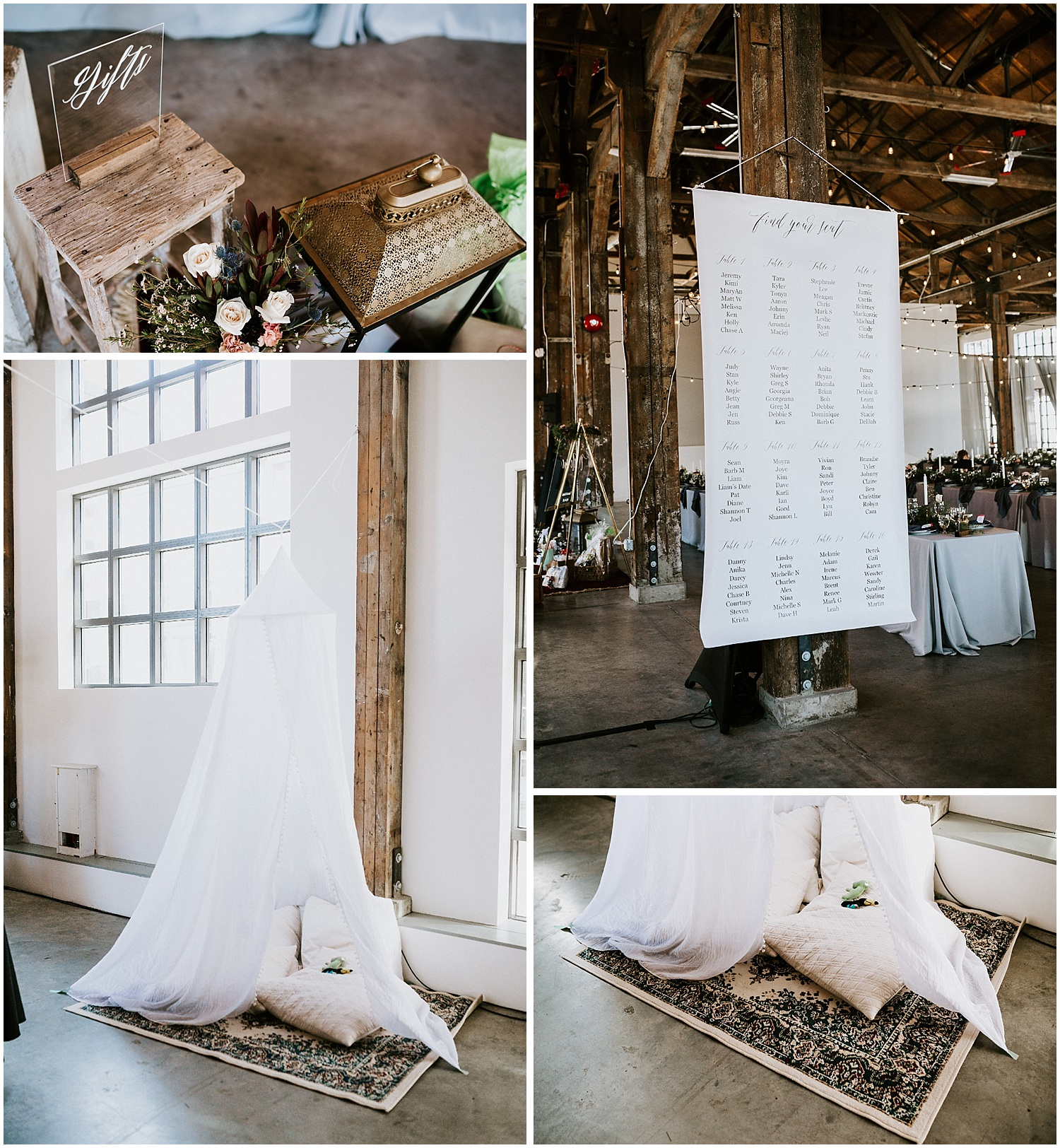 north vancouver diy wedding kids play tent  greenery pipe shop venue decor wedding intimate elopement long table decor by stacie carr photography