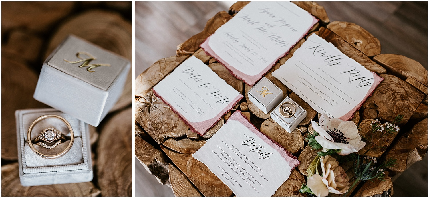 invitation suite stacie carr photography canadian designer eden phillipa wedding ring band design support local