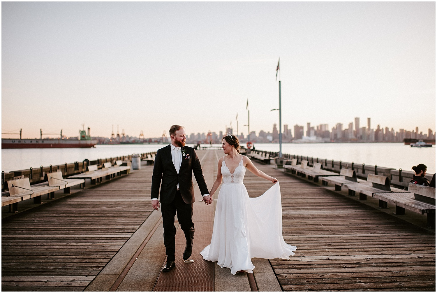 north vancouver wedding portraits intimate wedding party vancouver elopement by stacie carr photography pier lonsdale quay photos pipe shop venue