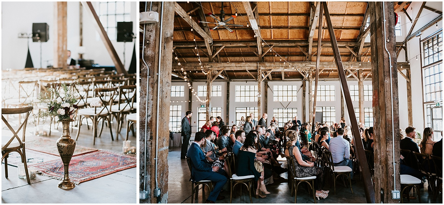 wooden chairs ceremony wedding decor diy bride unique greenery boho chic north vancouver intimate wedding stacie carr photography pipe shop venue