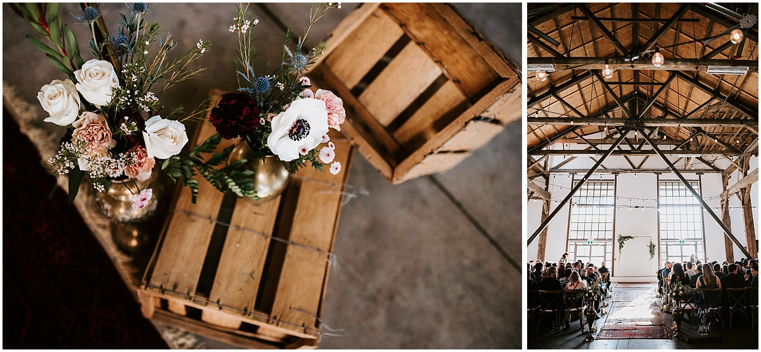 wooden chairs ceremony wedding decor diy bride unique greenery boho chic north vancouver intimate wedding stacie carr photography pipe shop venue wooden crates