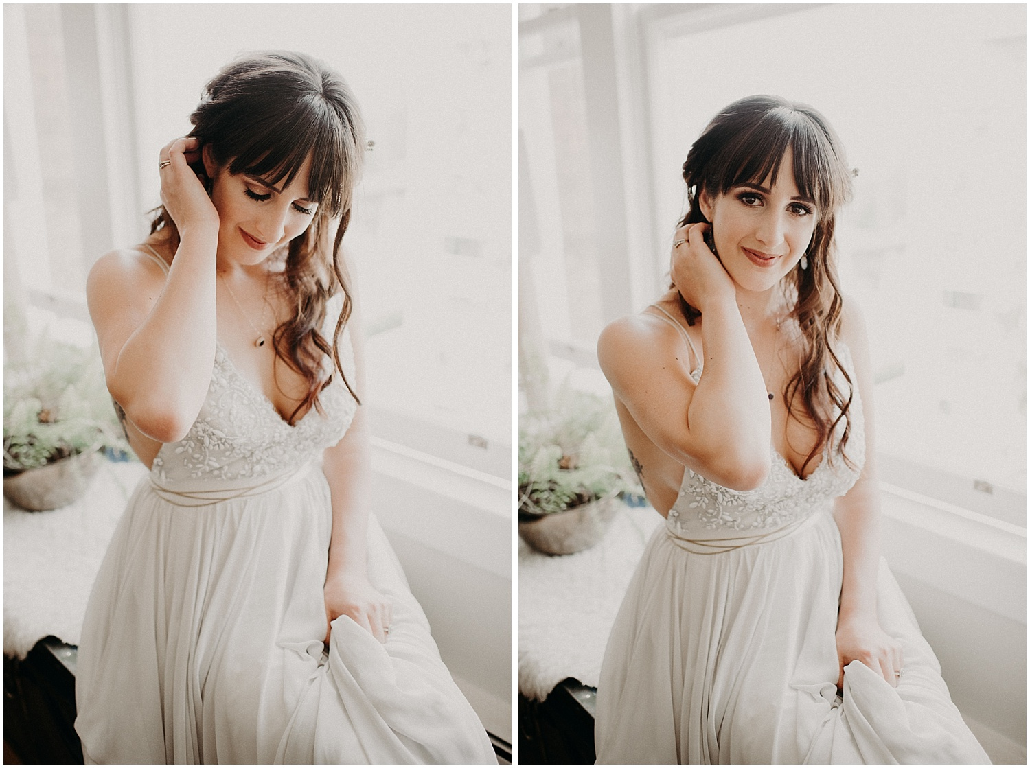 downtown vancouver apartment bridal portraits wedding day