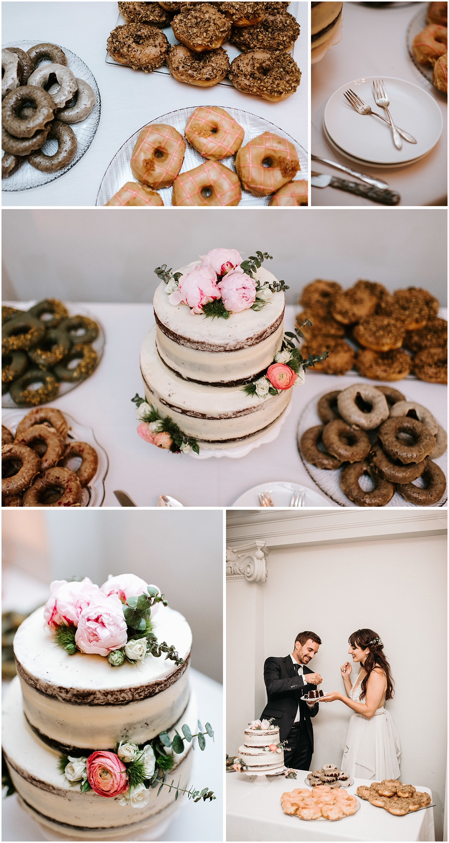 cartem donut display for cake cutting at downtown vancouver wedding the permanent