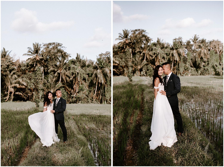 ubud bali rice field elopement wedding photos canadian couple