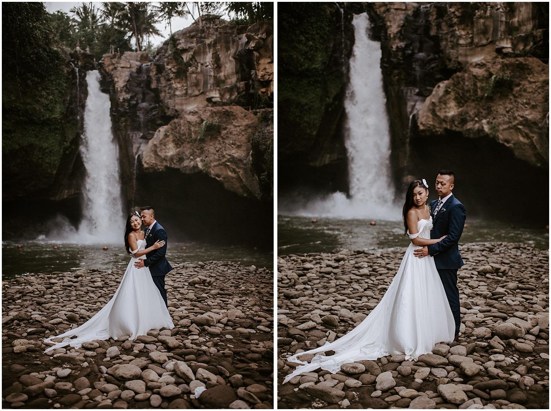 ubud bali tegenungan waterfall elopement photos canadian couple