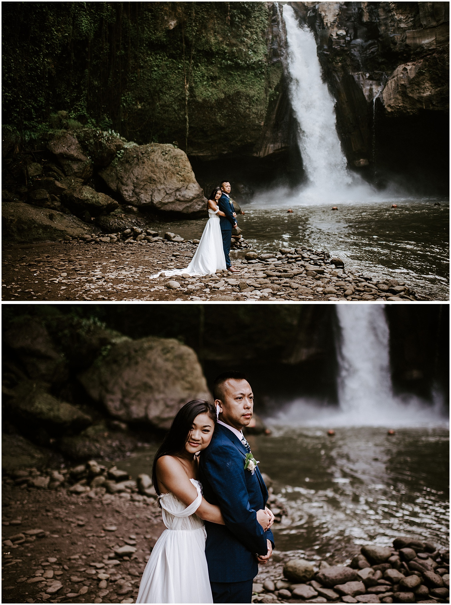 ubud bali waterfall elopement photos at tegenungan waterfall