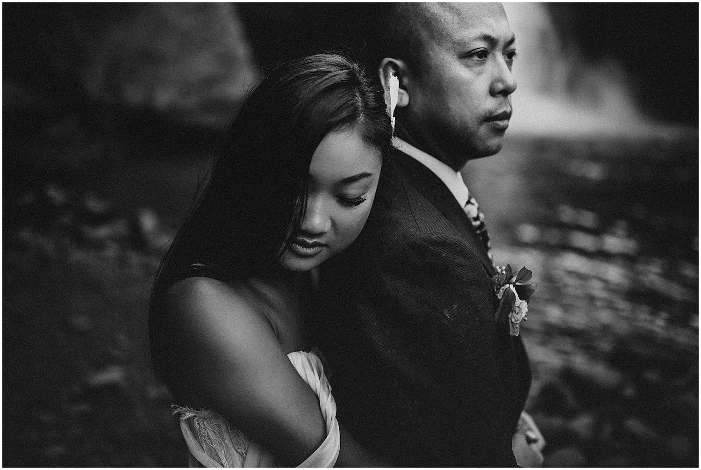 canadian wedding in ubud bali at tegenungan waterfall for elopement photos