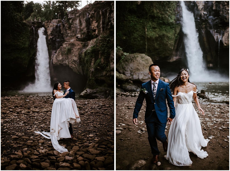 ubud bali tegenungan waterfall elopement photos fun couple emotive modern photography
