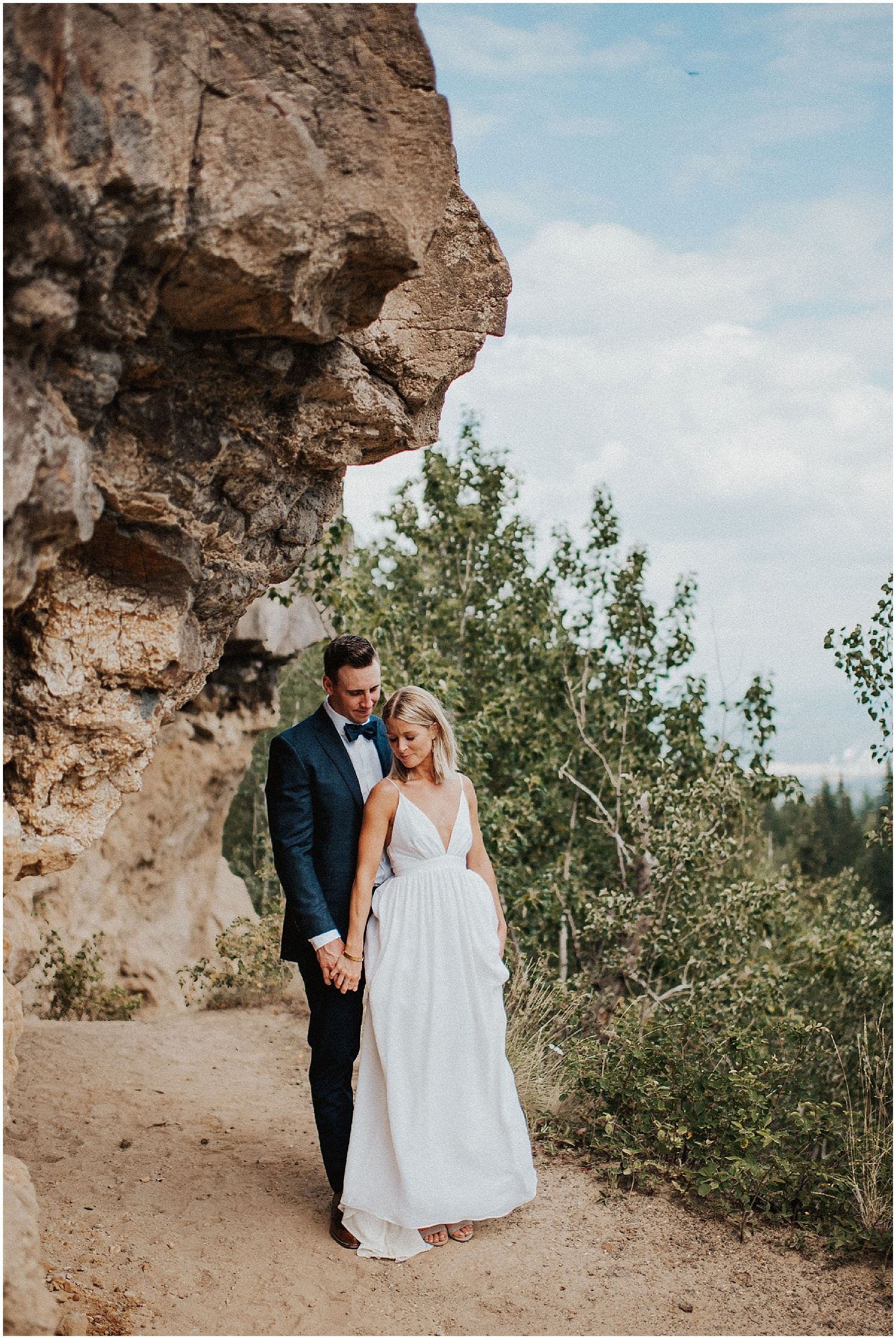 bc wedding photographer quesnel couple popping champagne fun photography pinnacles park lookout point elopement norther bc